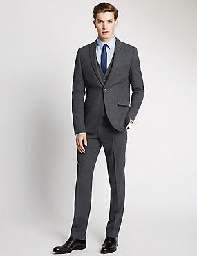 Navy Textured Modern Tailored Fit Suit with Waistcoat