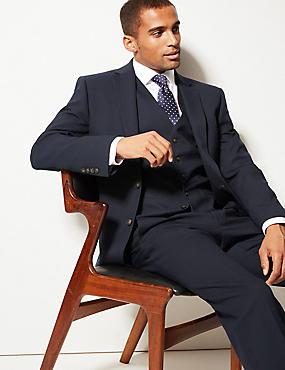 Navy Textured Regular Fit 3 Piece Suit, , catlanding