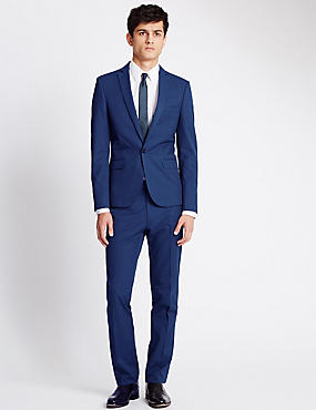 Blue Super Slim Fit Suit including Waistcoat