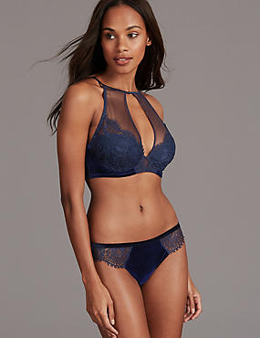 Velvet & Lace Set with High Neck Padded Plunge A-D