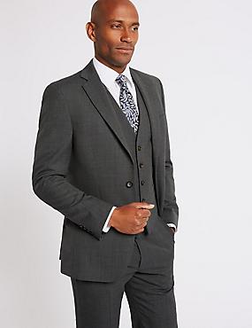 Grey Textured Regular Fit 3 Piece Suit, , catlanding