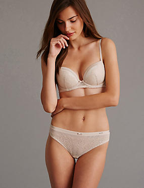 Dentelle Lace Low Rise Set with Padded Balcony A-E