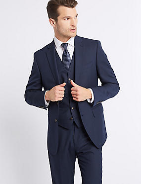 Indigo Textured Regular Fit 3 Piece Suit, , catlanding