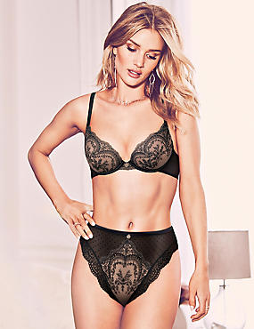 Embroidered Lace Set with Padded Plunge  A-E, , catlanding