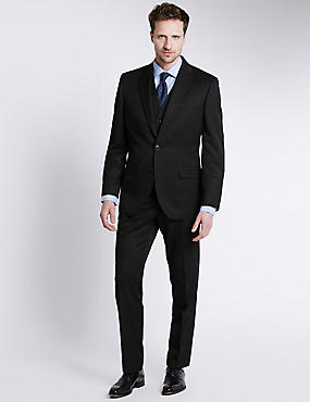 Big & Tall Black Regular Fit Suit Including Waistcoat