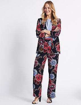 Floral Print Blazer & Trousers Suit Set, , catlanding