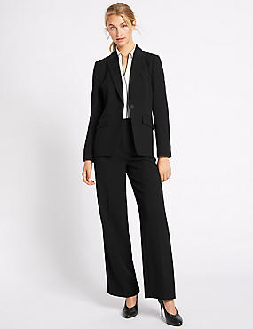 Crepe Jacket & Wide Leg Trousers Suit Set