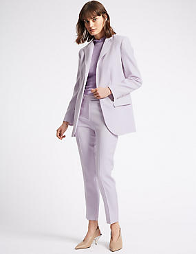 Lavender Blazer & Slim Leg Trousers Suit Set