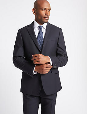 Navy Tailored Fit Wool Suit, , catlanding