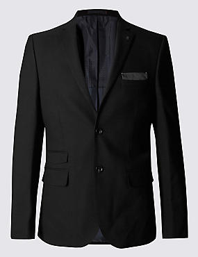 Black Textured Modern Slim Suit Including Waistcoat