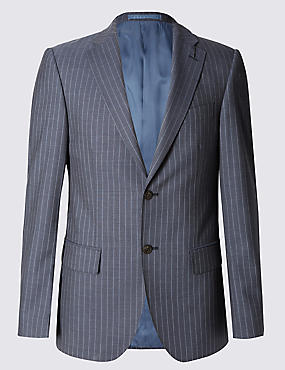 Blue Pinstriped Tailored Fit Suit