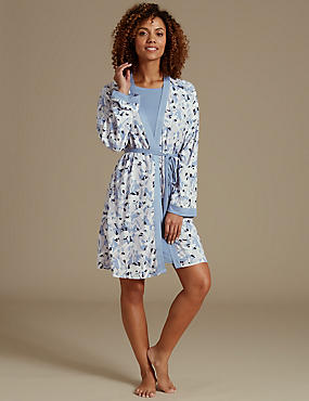 Floral Print Dressing Gown & Nightdress Set