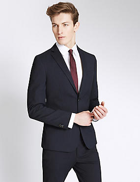 Navy Striped Modern Slim Fit Suit