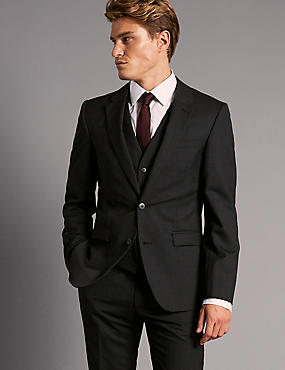 Charcoal Tailored Fit Italian  Wool 3 Piece Suit, , catlanding