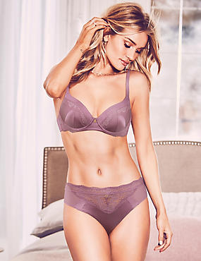 Silk & Lace Set with Padded Full Cup A-E, , catlanding