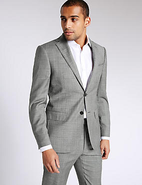 Grey Textured Tailored Fit Wool Suit