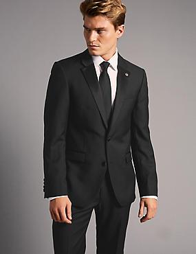 Big & Tall Black Tailored Fit Wool Jacket, , catlanding