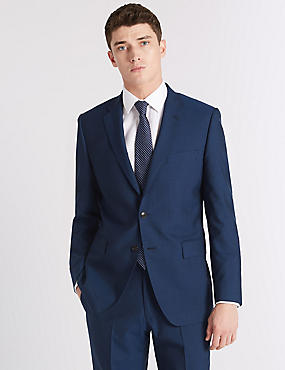 Blue Striped Tailored Fit Wool Suit, , catlanding