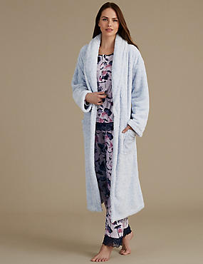 Dressing Gown with Floral Print Pyjama Set