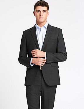 Charcoal Tailored Fit Wool Travel Suit, , catlanding