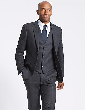 Navy Wool Blend 3 Piece Suit