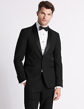 Big & Tall Black Textured Slim Fit Suit, , catlanding