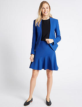 Collarless Blazer & Frill Skirt Suit Set