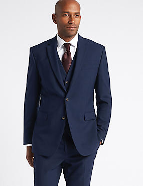 Navy Textured Slim Fit 3 Piece Suit