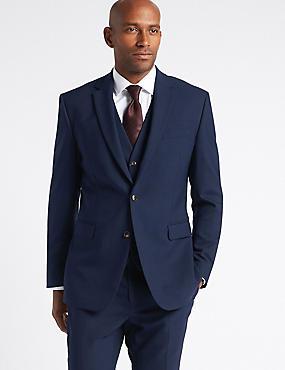 Navy Textured Slim Fit 3 Piece Suit, , catlanding