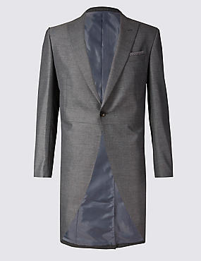 Grey Textured Tailored Fit Morning Suit