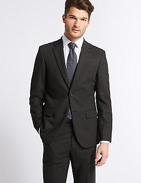 Charcoal Tailored Fit Travel  Suit, , catlanding