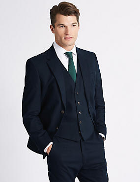 Linen Blend Regular Fit 3 Piece Suit, , catlanding