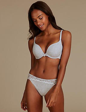 Cotton Blend Padded Set with Push-Up A-DD , , catlanding