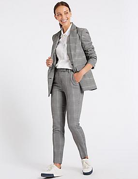 Checked Blazer & Slim Leg Trousers Suit Set, , catlanding