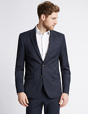 Big & Tall Navy Striped Tailored Fit Suit