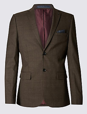 Brown Checked Modern Slim Suit