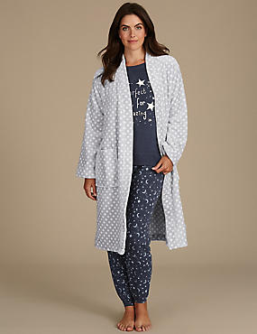 Dressing Gown with Printed Pyjama Set
