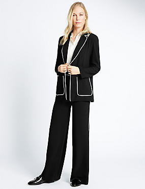 Contrast Piped Jacket & Trousers Set