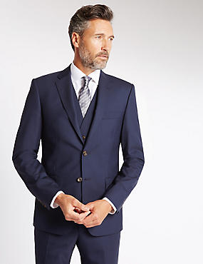 Navy Tailored Fit Suit Including Waistcoat with Buttonsafe™