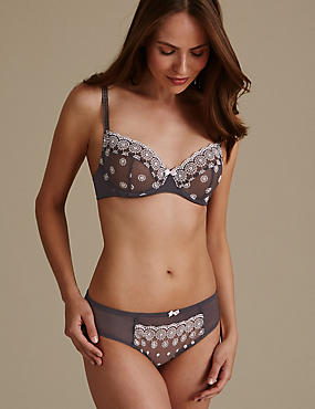 Embroidered Set with Non-Padded Balcony A-E