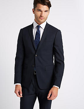 Navy Mordern Slim Fit Wool Suit, , catlanding