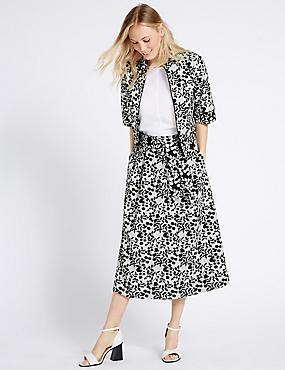 Cotton Blend Floral Print Skirt & Jacket Set