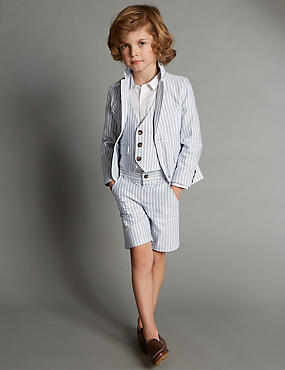 Pure Cotton Striped Suit with Waistcoat (1-7 Years)