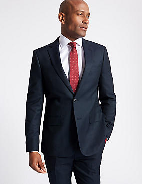 Navy Textured Slim Fit Suit, , catlanding