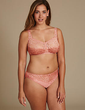 Floral Jacquard Lace Set with Total Support Full Cup B-G