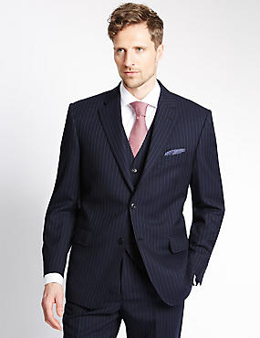 Big & Tall Navy Striped Regular Fit Suit with Waistcoat