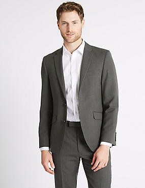 Big & Tall Grey Textured Tailored Fit Suit, , catlanding