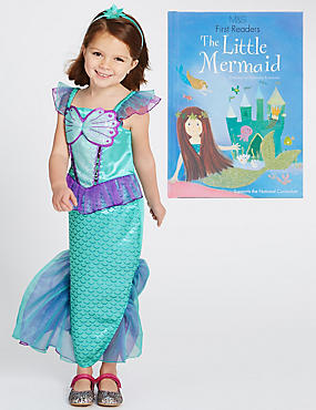 Kids' Mermaid Dress Up Costume with Book
