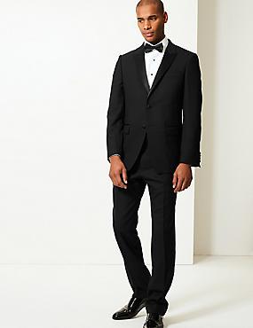 Black Regular Fit Wool Suit, , catlanding