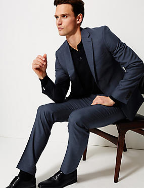 Blue Textured Slim Fit Suit